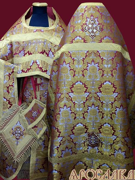 АРТ210. Риза красная парча Леонилл, отделка греческий галун(цвет золото), бахрома греческая.