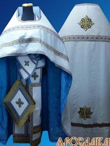 АРТ163.Риза белый лен, отделка цветной галун (голубой с золотом).Подклад хлопок с вискозой,с крестовым рисунком,голубого цвета.