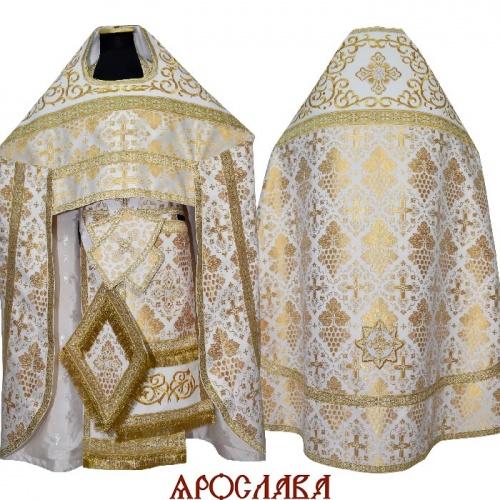 АРТ2123. Риза шелк Виноградная лоза. Комбинированная с вышивкой рисунок Византийский: власяница, окошки епитрахили, низ набедренника.
