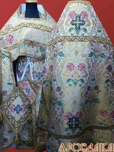 АРТ 212. Риза белая, греческая парча С Цветами, отделка греческий галун(бордовый с золотом), витая бахрома, кисти на палице.