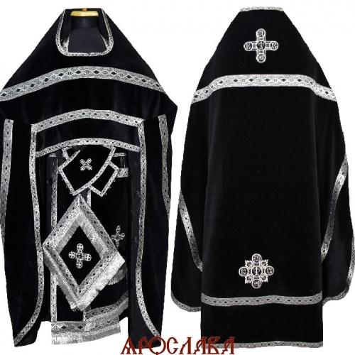 АРТ2131.Риза бархат, отделка цветной галун (черный с серебром)