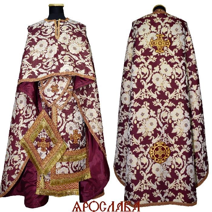 АРТ2135. Риза греческий крой, парча Пион, отделка цветной галун (бордовый с золотом). Кисть на палице.