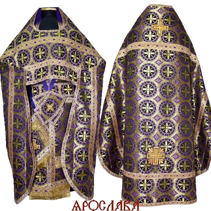 АРТ2137. Риза шелк Троицкий, отделка цветной галун (фиолетовый с золотом).