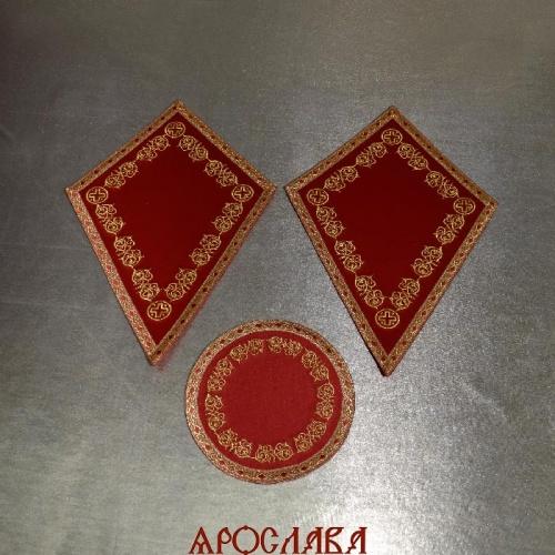 АРТ2138. Платы под кресты и лампаду вышитые рисунок Казачий, с галуном в цвет вышивки.