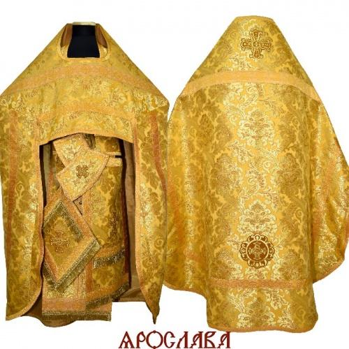 АРТ2151. Риза парча Эдем, отделка цветной галун (желтый с золотом).