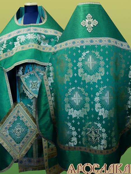 АРТ215. Риза зеленая шелк Крест с лучами, комбинированная с парчой рисунок Оренбург:власяница, надставка, окошки епитрахили, низ набедренника, отделка цветной галун (зеленый с золотом).