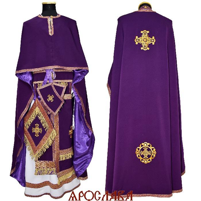 АРТ2170. Риза греческий крой,ткань габардин, отделка цветной галун, витая бахрома.