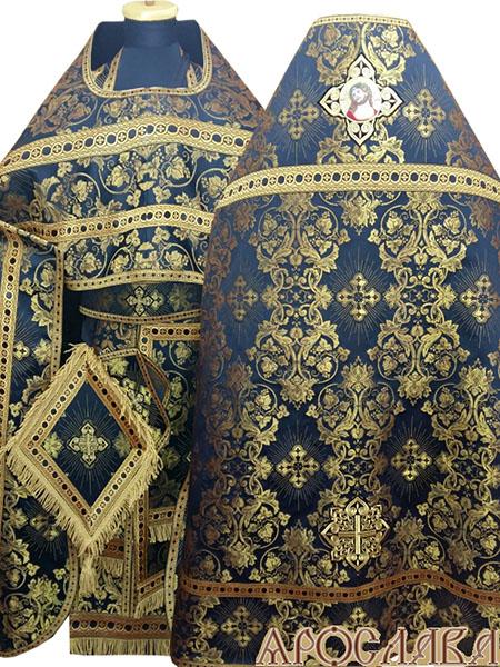 АРТ217. Риза черная с золотом парча Слуцкий, отделка цветной галун(черный с золотом). На оплечье вышитая икона Спаситель в Терновом венце в кресте, витая бахрома, кисть на палице.