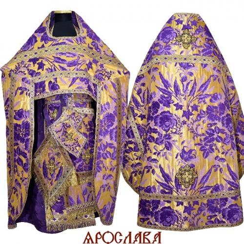 АРТ219. Риза фиолетовая с золотом греческий шенилл Лилия, отделка цветной галун (фиолетовый с золотом). Витая бахрома, три кисти на палице.