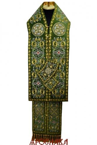 АРТ2207. Архиерейский требный набор вышитый рисунок Благозвонница. Ткань бархат.