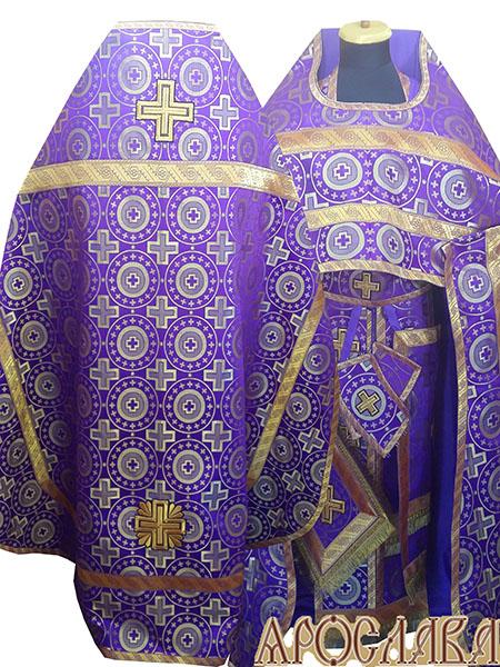 АРТ220. Риза шелк Мирликийский крест крупный, отделка цветной галун(фиолетовый с золотом).