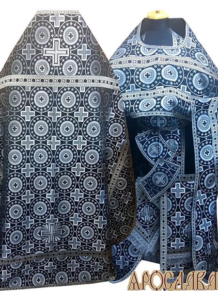 АРТ221. Риза шелк Мирликийский крест крупный, отделка цветной галун(черный с серебром).