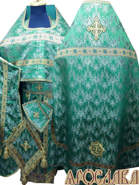 АРТ223. Риза греческая парча Виноград, отделка цветной галун (зеленый с золотом).Витая бахрома, кисти на палице
