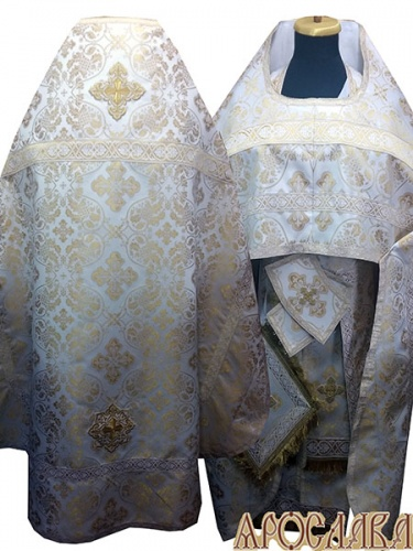 АРТ226. Риза бело-золотой шелк Ростовский, отделка цветной галун(бело-золотой).