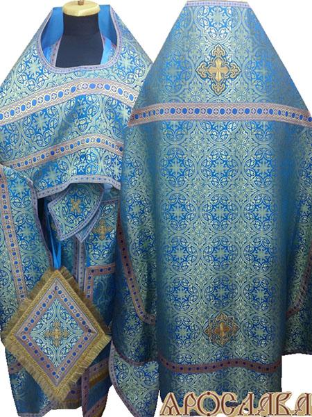 АРТ227. Риза шелк Шуйский, отделка цветной галун(голубой с золотом).