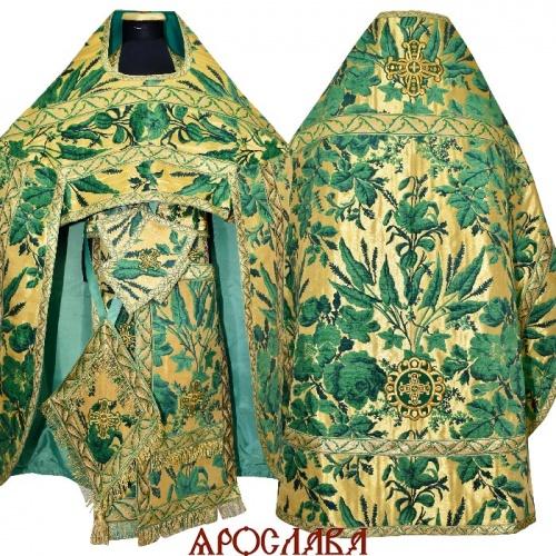 АРТ228. Риза зеленый с золотом греческий шенилл Лилия, отделка цветной галун (зеленый с золотом). Витая бахрома, три кисти на палице.