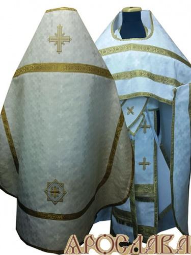 АРТ229. Риза белая с серебром шелк Полтавский крест, обыденная отделка (цвет золото).