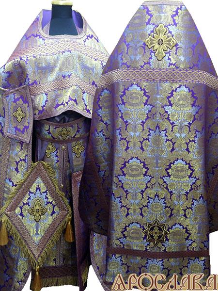 АРТ231. Риза фиолетовая парча Леонилл, отделка цветной галун(фиолетовый с золотом), витая бахрома, кисти на палице.