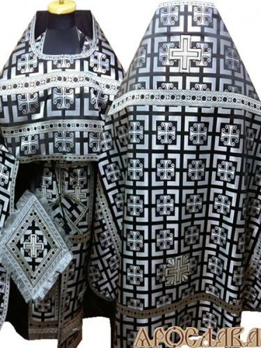 АРТ232. Риза черный с серебром шелк Каппадокия, отделка цветной галун черный с серебром).