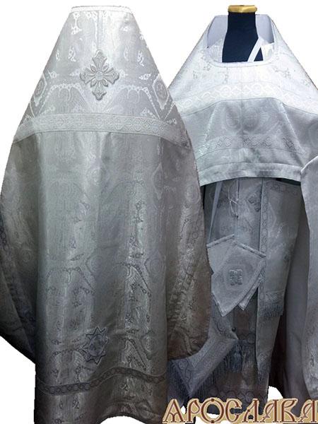 АРТ233. Риза белая с серебром парча Ангелы, отделка цветной галун (белый с серебром). Витая бахрома, три кисти на палице.