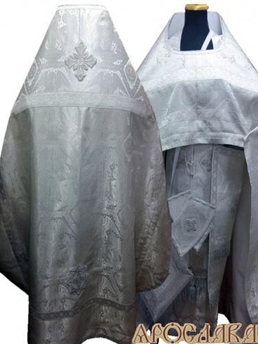 АРТ233. Риза парча Ангелы, отделка цветной галун (белый с серебром). Витая бахрома, три кисти на палице.