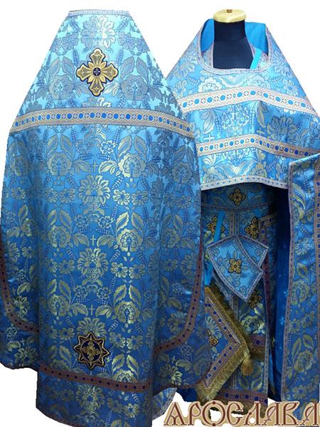 АРТ234. Риза парча Колосья, отделка цветной галун (голубой с золотом), три кисти на палице.