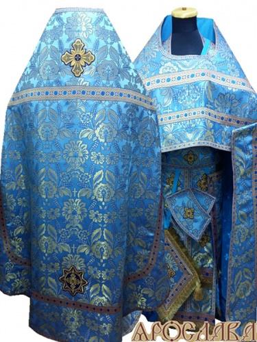 АРТ234. Риза голубая с золотом парча Колосья, отделка цветной галун (голубой с золотом), три кисти на палице.