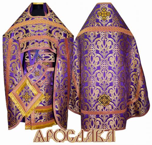 АРТ237. Риза парча Апостольская, отделка цветной галун (фиолетовый с золотом).