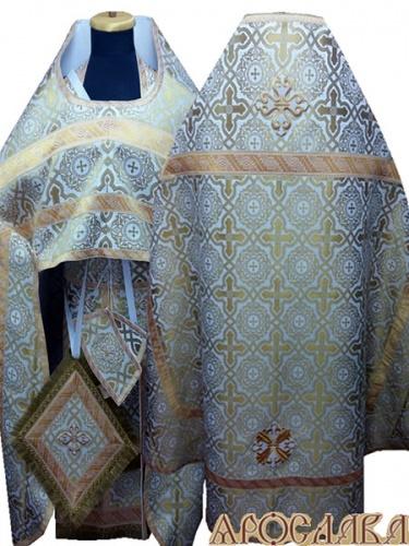 АРТ239. Риза бело-золотой шелк Златоуст, отделка цветной галун(бело-золотой).