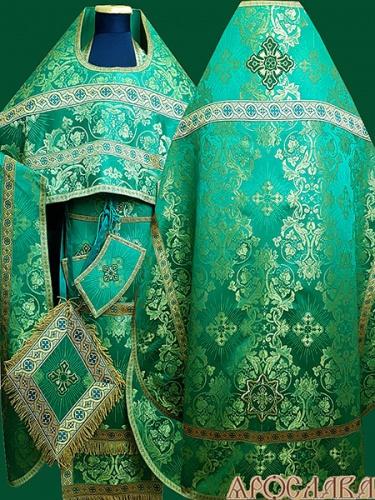 АРТ244.Риза зеленая парча Слуцкий, отделка цветной галун(зеленый с золотом), витая бахрома.