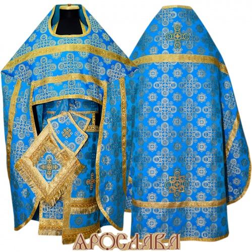 АРТ245. Риза голубой с золотом шелк Вифлеем, отделка цветной галун (голубой с золотом).
