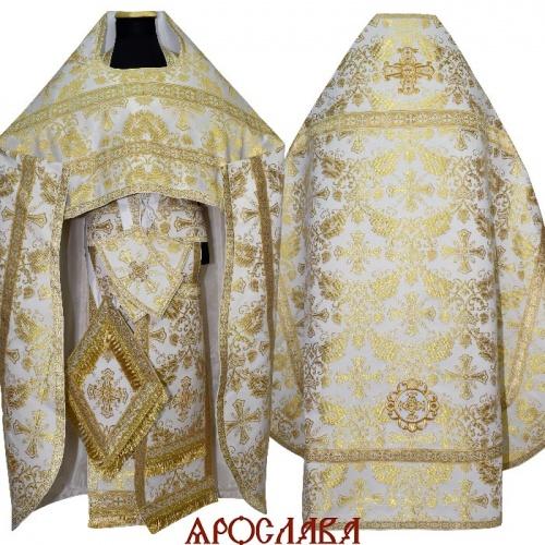 АРТ246. Риза бело-золотая парча Курский, отделка цветной галун (белый с золотом).