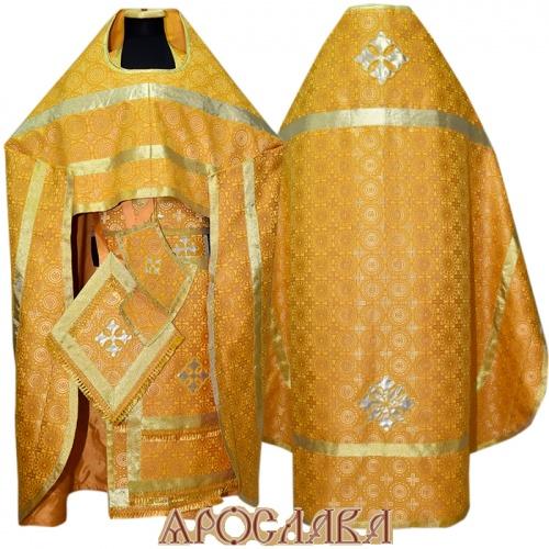 АРТ247. Риза желтый шелк Мирликийский крест мелкий, простая отделка (цвет золото).