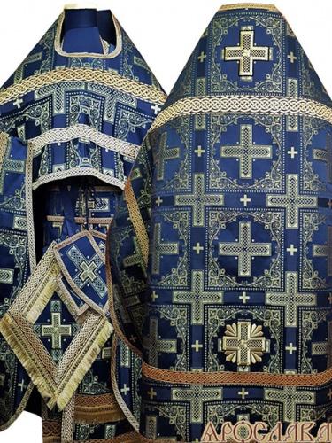 АРТ248. Риза парча Ивирон, отделка цветной галун(черный с золотом).