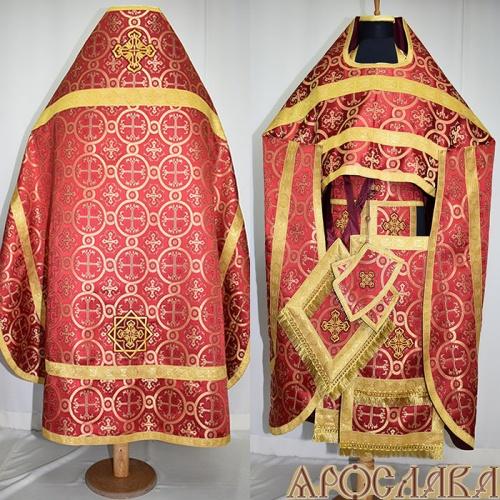 АРТ250. Риза бордовая греческая парча Ника, отделка цветной галун (цвет золото).