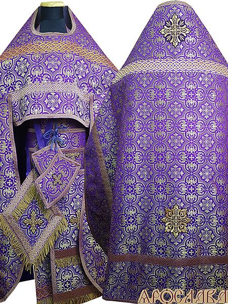 АРТ251.Риза парча Василия, отделка цветной галун(фиолетовый с золотом), витая бахрома.