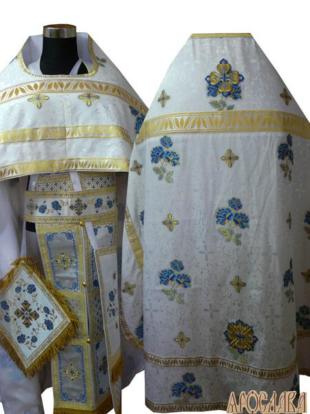 АРТ252. Риза белая с голубыми Розами, греческий шелк , отделка греческий галун, витая бахрома.