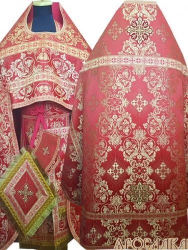 АРТ256. Риза красный шелк Слуцкий, отделка цветной галун (красный с золотом).