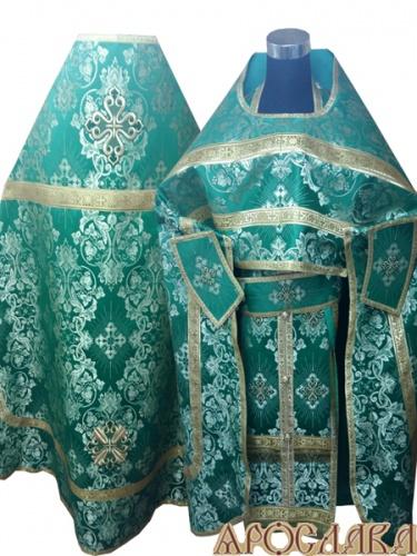 АРТ257. Риза зеленый шелк Слуцкий,обыденная отделка (цвет золото).
