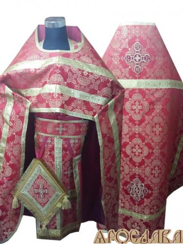 АРТ258. Риза красная парча Коломенский, обыденная отделка (цвет золото), кисти на палице.