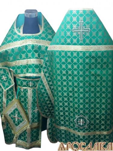 АРТ259. Риза зеленая парча Снежинка, обыденная отделка (цвет золото).