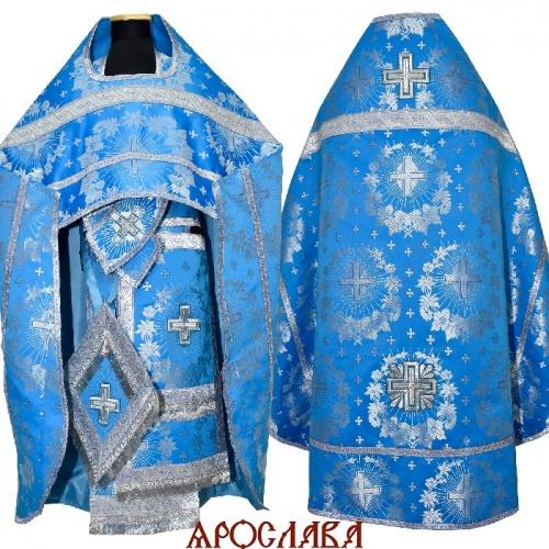 АРТ260. Риза голубая с серебром парча Крест с лучами, обыденная отделка (цвет золото), кисти на палице.