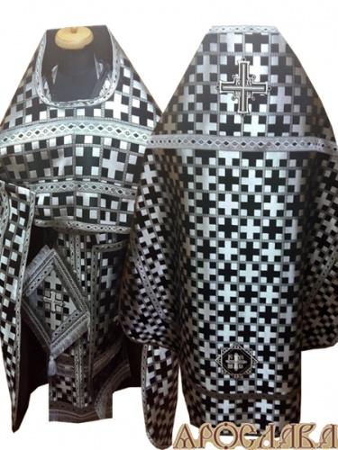 АРТ261. Риза черная с серебром парча Новгородский крест, отделка цветной галун(черный с серебром), витые кисти на палице.