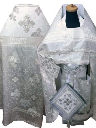 АРТ252. Риза белая серебро с Розами, греческий шелк , отделка греческий галун, кисти на палице.