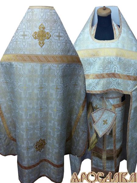 АРТ266. Риза шелк Кустодия, отделка цветной галун (белый с золотом).