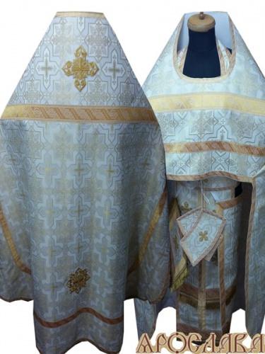АРТ266. Риза белая с золотом шелк Кустодия, отделка цветной галун (белый с золотом).
