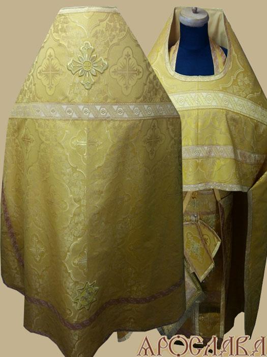 АРТ269.Риза желтая парча Донская, отделка цветной галун (цвет золото)