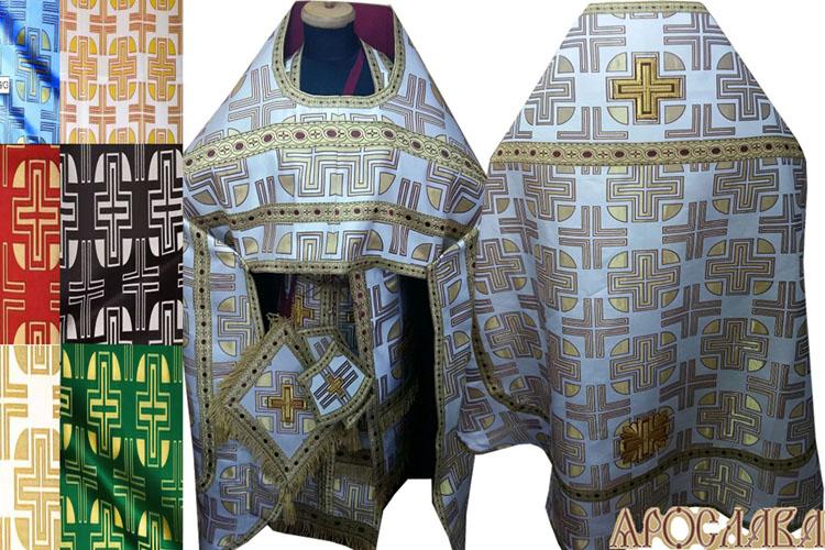 АРТ270. Риза парча Большой крест, отделка греческий галун (бордовый с золотом). Витая бахрома, кисти на палице.