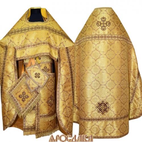АРТ271.Риза желтая с бордо парча Василия, отделка цветной галун (бордовый с золотом), витая бахрома.