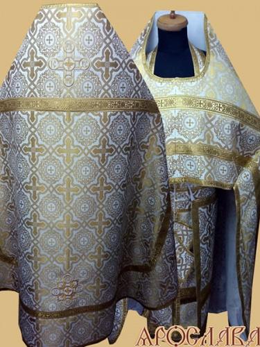 АРТ273. Риза бело-золотой шелк Златоуст,обыденная отделка (цвет золото).